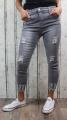 dámské elastické džíny, džíny slimky, dívčí slimky, dívčí elastické džíny, krátké džíny, šedé džíny, džíny skiny, džíny s vyšším pasem, trhané šedé džíny | S/36, M/38
