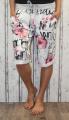 Dámské kraťasy dámské baggy kytkované kraťasy, dámské šortky, dámské velké kraťasy s kytkami, bílo-růžoo-černé kraťasy, bavlněné kraťasy