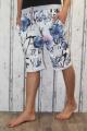 Dámské kraťasy dámské baggy kytkované kraťasy, dámské šortky, dámské velké kraťasy s kytkami, bílo-modré kraťasy, bavlněné kraťasy
