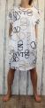 Dámské bavlněné šaty s písmeny - bílé