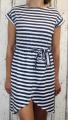 Dámské letní šaty, plážové šaty, pohodlné šaty, dámské šaty s páskem, bavlněné pruhované šaty, námořnické šaty, šaty se zavazováním