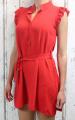 Dámské letní šaty bez rukávů s páskem - červené