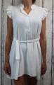 Dámské letní šaty bez rukávů s páskem - bílé