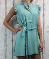 Dámské letní šaty bez rukávů s páskem - zelené-mintové