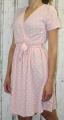 Dámské letní šaty, pohodlné šaty, dámské šaty s páskem, šaty se zavazováním, puntíkaté šaty, šaty s výstřihem, růžové šaty Italy Moda