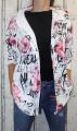 Dámský teplákový bavlněný kardigan - kytky - bílo-černo-růžový