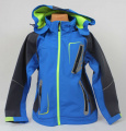 Jarní softshellová bunda - modrá s fosforovým zipem