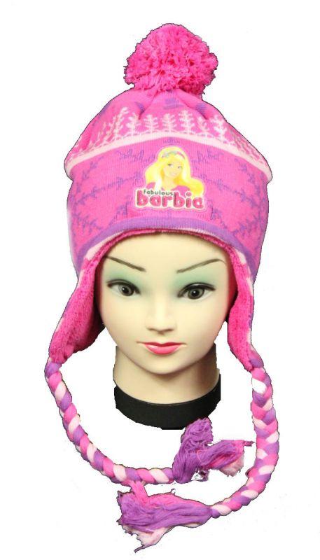 Čepice - ušanka - BARBIE - tm.růžové Disney