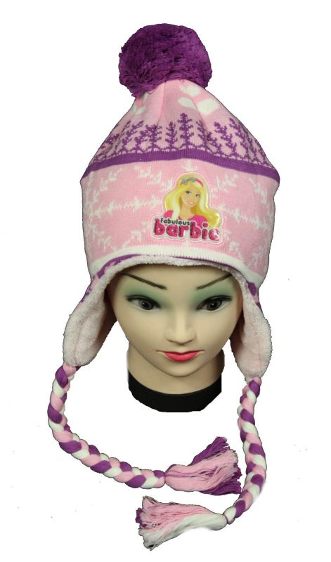 Čepice - ušanka - BARBIE - fialová Disney