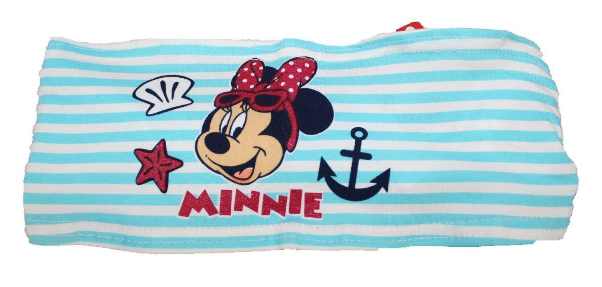 LÁTKOVÁ ČELENKA DO VLASTŮ - MINNIE- modro-bílá Disney