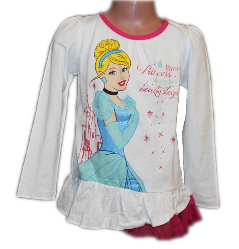 Triko dlouhý rukáv - tunika - PRINCESS - bílá Disney