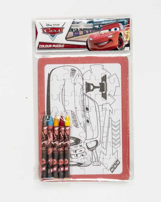 Vybarvovací puzzle s voskovkami Cars Disney