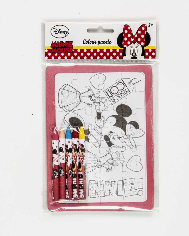 Vybarvovací puzzle s voskovkami Minnie Disney