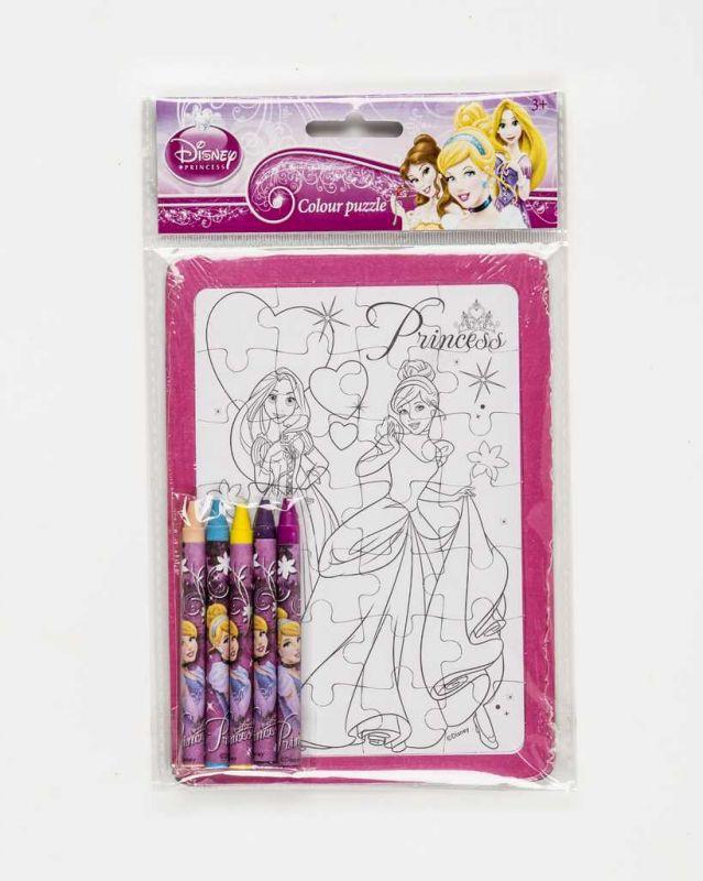 Vybarvovací puzzle s voskovkami Princess Disney