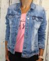 Dámská džínová bunda modrá, letní džínová bunda, džínová elastická bunda, pružná džíska, modrá džínová bundička, modrá džíska, velká džínová bunda, velká džíska, šisovaná džínová bunda | 3XL, 4XL, 6XL