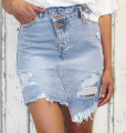 Dámská džínová sukně, dívčí džínová sukně, trhaná džínová sukně, džínová sukně šikmý střih, modrá džínová sukýnka, světlá džínová sukně | XS, S, M, L, XL