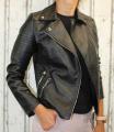 dámská koženková bunda, černá bunda z imitace kůže, dámská bundička, kožená bunda, černá jarní bunda, podzimní koženková bunda, černý křivák | S, M, L, 2XL