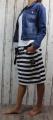 Dámská sukně, bavlněná sukně, sukně pod kolena, tepláková sukně, sukně se zavazováním, modro-bílá sukně, sukně široké pruhy
