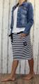 Dámská sukně, bavlněná sukně, sukně pod kolena, tepláková sukně, sukně se zavazováním, modro-bílá sukně, sukně pruhy, pruhovaná sukně