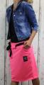 Dámská sukně, bavlněná sukně, sukně pod kolena, tepláková sukně, sukně se zavazováním, neonová růžová sukně