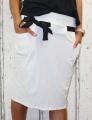 Dámská sukně, bavlněná sukně, sukně pod kolena, tepláková sukně, sukně se zavazováním, bílá sukně Italy Moda