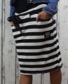 Dámská sukně, bavlněná sukně, sukně pod kolena, tepláková sukně, sukně se zavazováním, černo-bílá sukně, pruhovaná sukně