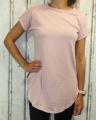 Dámské bavlněné tričko krátký rukáv, dámské dlouhé tričko tričko s rozparky, dlouhé růžové tričko, dlouhá tunika