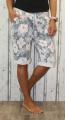 Dámské kraťasy dámské baggy kytkované kraťasy, dámské šortky, dámské velké kraťasy s kytkami, šedo-růžové kraťasy, bavlněné kraťasy