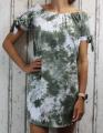 Dámské letní šaty, plážové šaty, dámská tunika, pohodlné šaty dámské šaty volný střih, pruhované šaty přes ramena,zeleno-bílé batikované šaty