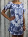 Dámské letní šaty, plážové šaty, dámská tunika, pohodlné šaty dámské šaty volný střih, pruhované šaty přes ramena, modro -bílé batikované šaty