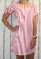 Dámské letní šaty, plážové šaty, dámská tunika, pohodlné šaty dámské šaty volný střih, pruhované šaty přes ramena,červeno-bílé šaty