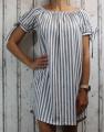 Dámské letní šaty, plážové šaty, dámská tunika, pohodlné šaty dámské šaty volný střih, pruhované šaty přes ramena, zeleno-bílé šaty