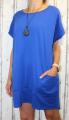 Dámské bavlněné šaty s přívěskem - volné - modré
