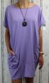 Dámské bavlněné šaty s přívěskem - volné - fialové