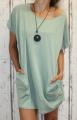 Dámské bavlněné šaty s přívěskem - volné -zelené-mintové