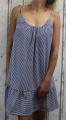 Dámské letní šaty na ramínka - pruhy - bílo-modré