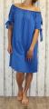 Dámské letní, bavlněné šaty se spadlými rameny - modré 2
