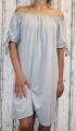 Dámské letní, bavlněné šaty se spadlými rameny - šedé