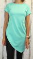 Dámské tričko krátký rukáv, dámské dlouhé tričko se zkoseným střihem, dlouhé zelené tričko