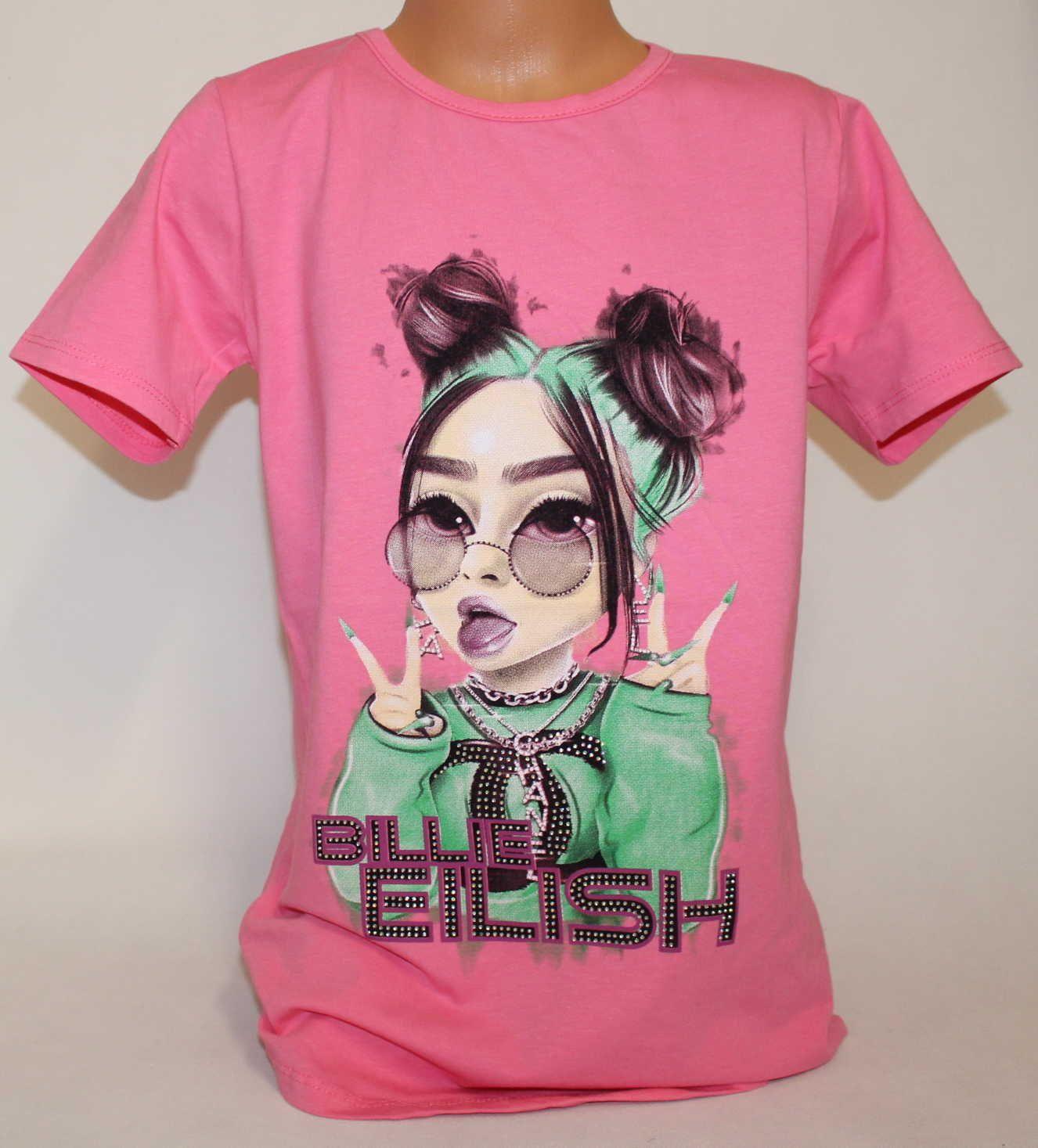 Triko krátký rukáv Billie Eilish, dívčí tričkoBillie Eilish, oblečení Billie Eilish, bavlněné tričko Billie Eilish, sv.růžové tričko Billie Eilish, růžové tričko
