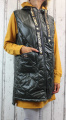 Dámská dlouhá vesta, dámská prošívaná vesta, dlouhá khaki vesta, dámská vesta Italy Moda