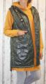 Dámská dlouhá vesta, dámská prošívaná vesta, dlouhá khaki vesta, dámská vesta