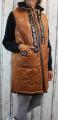 Dámská dlouhá vesta, dámská prošívaná vesta, dlouhá hnědá vesta, dámská vesta Italy Moda