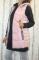 Dámská dlouhá vesta, dámská prošívaná vesta, dlouhá starorůžová vesta, dámská vesta, dámská vesta s kapucí, podzimní dlouhá vesta, jarní dlouhá vesta | S, M, L, XL, XXL