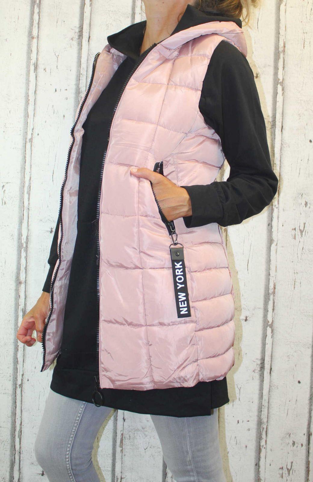Dámská dlouhá vesta, dámská prošívaná vesta, dlouhá starorůžová vesta, dámská vesta, dámská vesta s kapucí, podzimní dlouhá vesta, jarní dlouhá vesta Italy Moda