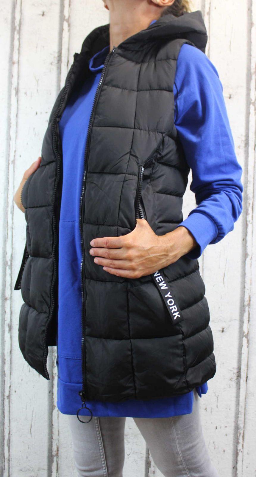 Dámská dlouhá vesta, dámská prošívaná vesta, dlouhá černá vesta, dámská vesta, dámská vesta s kapucí, podzimní dlouhá vesta, jarní dlouhá vesta Italy Moda
