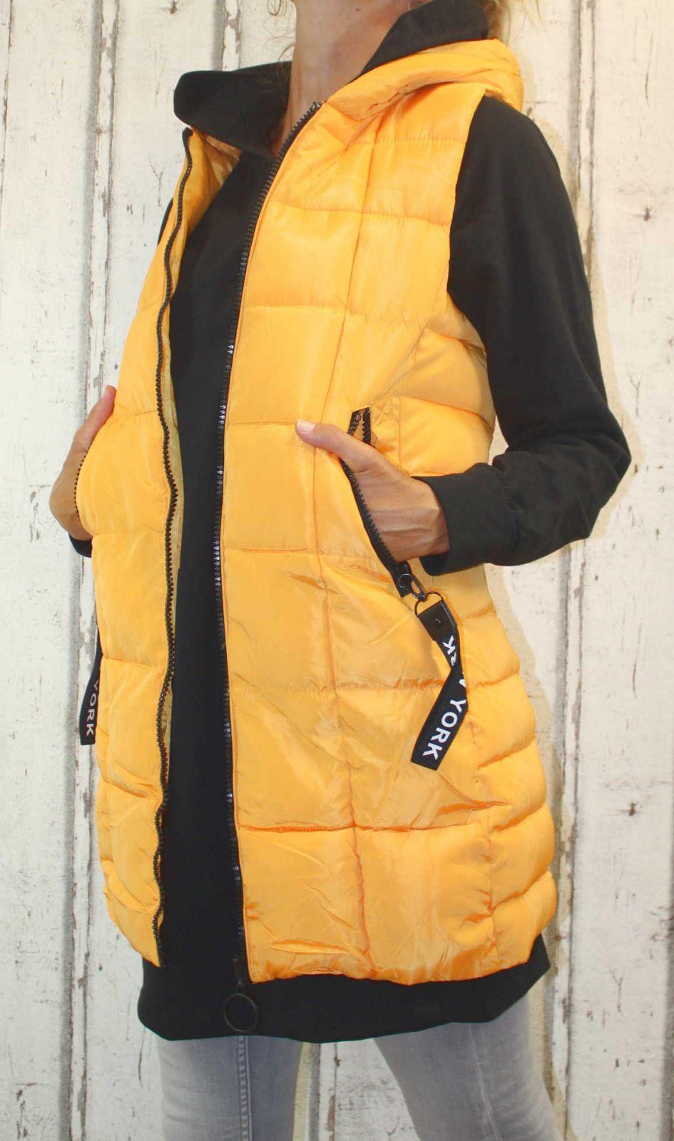 Dámská dlouhá vesta, dámská prošívaná vesta, dlouhá žlutá vesta, dámská vesta, dámská vesta s kapucí, podzimní dlouhá vesta, jarní dlouhá vesta Italy Moda