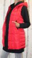 Dámská dlouhá vesta, dámská prošívaná vesta, dlouhá červená vesta, dámská vesta, dámská vesta s kapucí, podzimní dlouhá vesta, jarní dlouhá vesta Italy Moda