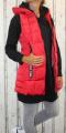 Dámská dlouhá vesta, dámská prošívaná vesta, dlouhá červená vesta, dámská vesta, dámská vesta s kapucí, podzimní dlouhá vesta, jarní dlouhá vesta | S, M, L, XXL