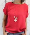 Dámská tunika, dámské tričko volný střih, dámská halenka, dámská halenka s uzlem červená, červená tunika